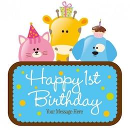 vector cartão de aniversário infantil
