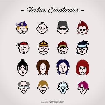 Expressões personagens vetor definido