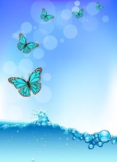 vector de onda de água com borboletas e bokeh