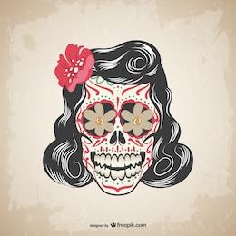Vector floral tatuagem de caveira
