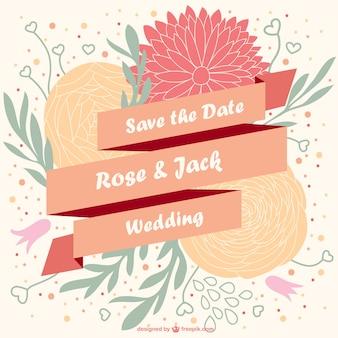 Vetor convite de casamento floral