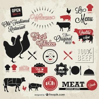 Carne símbolos vetor vintage definidos