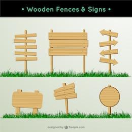 vector sinal de madeira