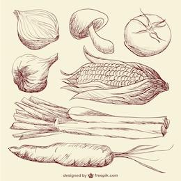 Vegetais do doodle arte