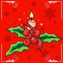 Vela do Natal e azevinho
