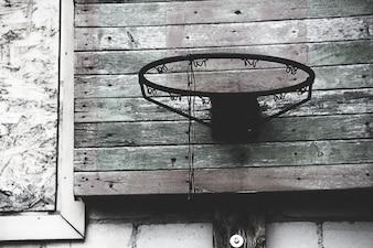 Velho, abandonado, basquetebol, aro