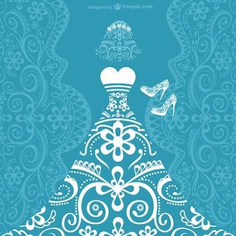 Vestido de casamento cartão do vetor