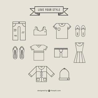 Vestuário ícones estilo linear