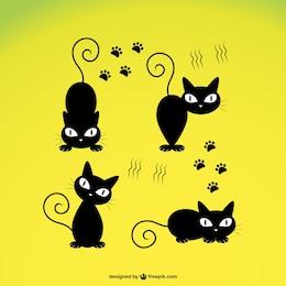 Vetor bonito do gato preto