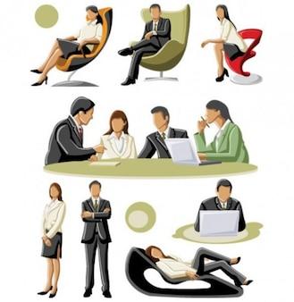 Vetor escritório modelo de negócios trabalhadores
