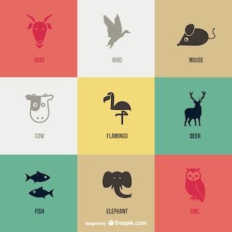 Vetor pictogramas animais definido