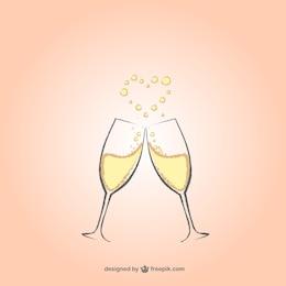 Vidros de Champagne com coração