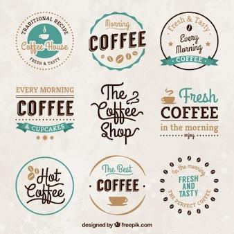 Vintage emblemas casa de café