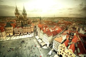 Vista da Cidade Velha em Praga.