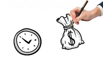 Vista de cima da mão que desenha um saco de dinheiro ao lado de um relógio