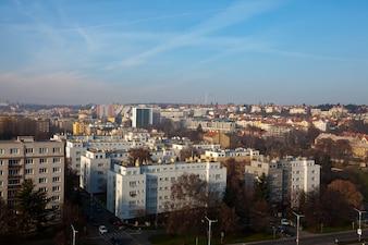 Vista do bairro residencial em Praga