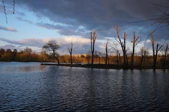 Vista do lago Tineretului Park, Bucareste