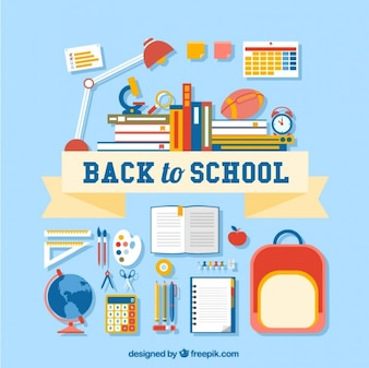 Voltar para rotulação da escola com muitos suprimentos