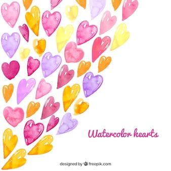 Corações Fundo da aguarela