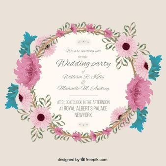 Convite do casamento com quadro floral