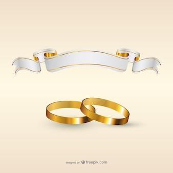 Anéis de casamento e modelo da bandeira da fita