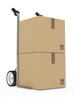 Wheelbarrow com duas caixas de papelão