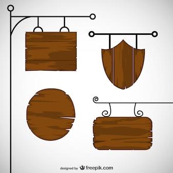 Sinais de madeira pacote vector