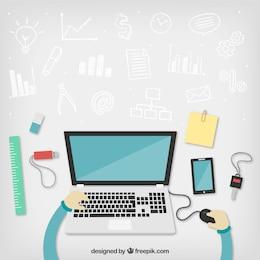 Workspace com doodles negócios