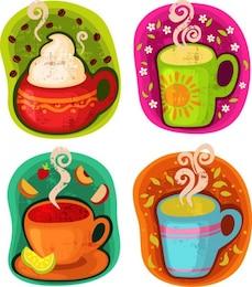 xícara de café bebida quente ou ilustração vetorial chá