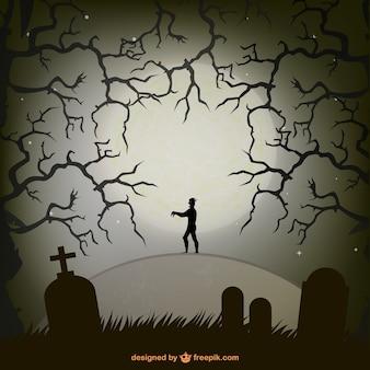 Zumbi em um cemitério na noite do dia das bruxas Ilustração