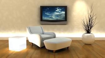 3D-Darstellung auf der Wand von Sofa und Fernseher