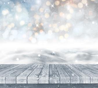 3D-Darstellung von einem Holzdeck mit Blick auf eine verschneite Landschaft vor einem Bokeh Lichter Hintergrund