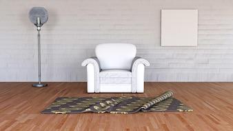 3D-Darstellung von einem minimalistischen Raum Interieur