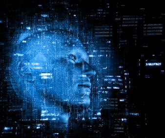 3D-Darstellung von einem Technologie-Hintergrund mit Code über männlichen Kopf