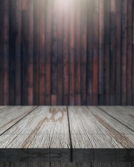 3D Holztisch mit Blick auf eine defokussierte Holzwand