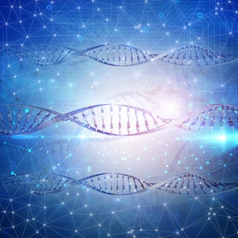 3D medizinischer Hintergrund mit DNA-Strängen