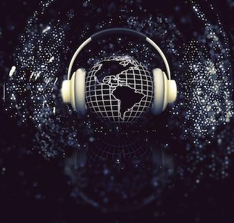 3D mit Kopfhörern auf Glanz Hintergrund Darstellung von einem Globus