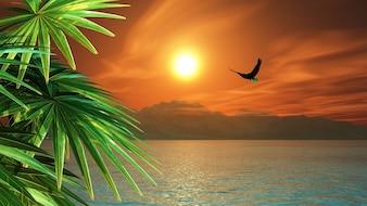 3D render von einem Adler fliegen über den Ozean in einer tropischen Landschaft