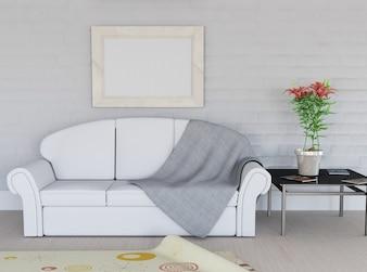 3D render von einem Raum Interieur mit leeren Bilderrahmen an der Wand