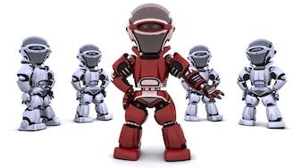 3D-Render von einem roten Roboter, der ein Team führt