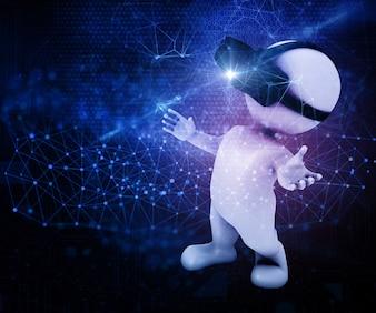 3D übertragen von einer männlichen Figur tragen ein VR-Headset auf einem abstrakten Techno-Hintergrund