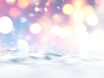 3D-Weihnachtslandschaft mit Schnee und Bokeh Lichter