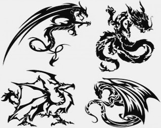 Stock Illustrationen - Drachen-Tattoo-Vektor
