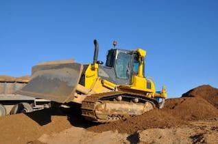 Bulldozer auf Baustelle