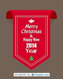 Rotes Band mit frohe Weihnachten und glückliches neues Jahr 2014 Text