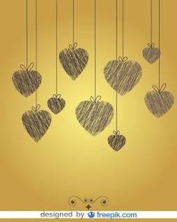 Vintage doodle Herz Hintergrund