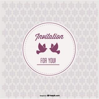 Vintage Einladung mit Liebe Vögel und nahtlose Muster Design