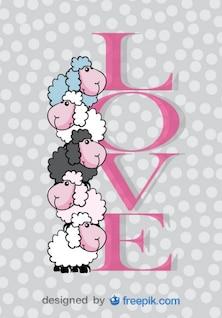 Die niedlichen Schafe Valentinstag Karte