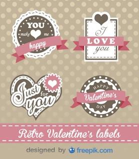 Tag Valentinstag Retro-Etiketten schönes Design