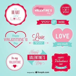 Stilvollen Retro-Abzeichen für Valentinstag